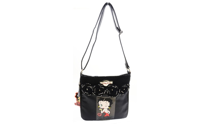 Betty Boop Retro Black Faux Leather Knit Floral Detail Cross Body Bag