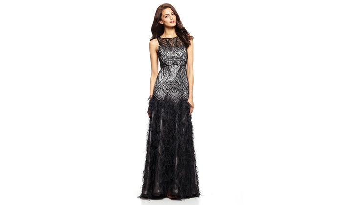 SUE WONG Ball Gown with Feather Detail   Groupon