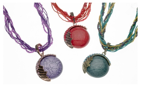 Beautiful Stone Beaded Necklace with Art Glass Pendant - Assorted Colors bb46e3c3-0256-4050-b07c-c78ad450d00d