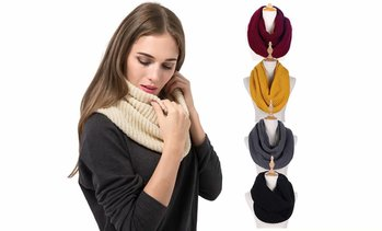 Women Men Winter Thick Ribbed Knit Warm Circle Loop Infinity Scarf