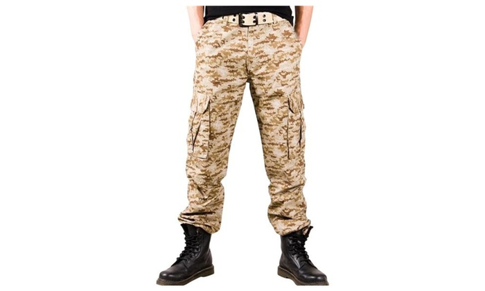 Hellofashion Men's Leisure Loose Mid Rise Washed Cargo Camo Pants