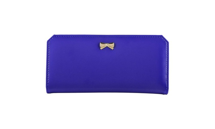 Zodaca Navy Blue Women's PU Leather Bowknot Clutch Wallet Long Purse