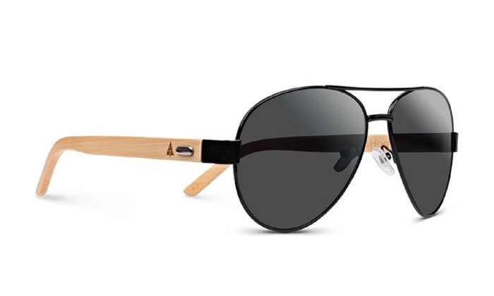 Wooden Bamboo Aviator Sunglass...
