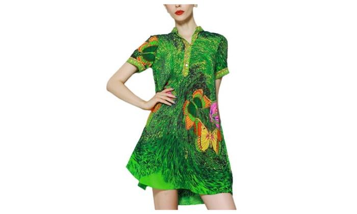 Women's Solid European Style Collarless 100% Silk Dress