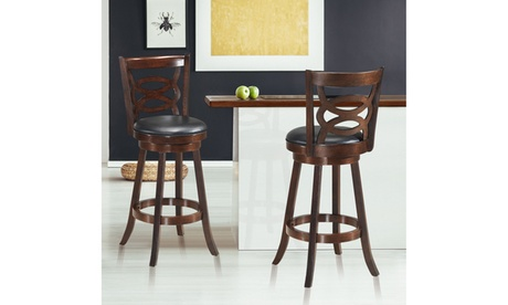 Costway Set of 2 Bar Stools Wooden Swivel Backed Dining Chair Home Kitchen 29