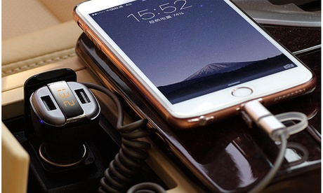 Sleek Fast Charging Dual-USB Car Charger With LED display 6271c3df-3734-44d6-aa18-e791215b01e8