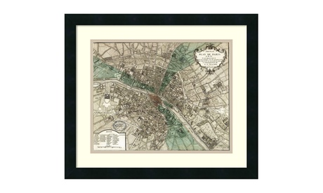 Vintage Reproduction 'Plan de Paris' Framed Art Print 21x18-in 103d13f6-a77c-404d-819b-4b9e14e3bb20