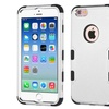 Insten Tuff Hard Hybrid Silicone Case For iPhone 6 6s Silver Black