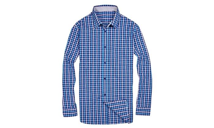 Stylebek Men's Shirt Casual Plaid Long Sleeve Button Down Cotton
