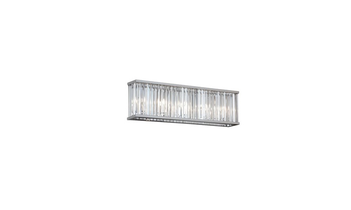 4-Light Polished Chrome Vanity with Crystal Glass Shade