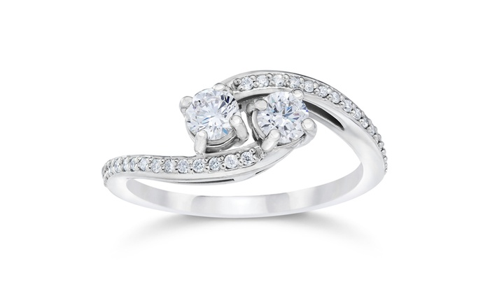 1 2 carat 2 stone forever us diamond ring white gold groupon. Black Bedroom Furniture Sets. Home Design Ideas