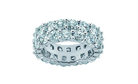 4.50 ct Two Row Diamond Eternity Wedding Band Ring