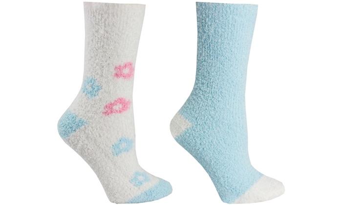 2 Pair Fluffy Chenille Socks - Flowers