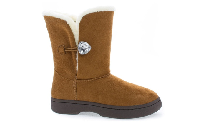 Fur Crystal Button Gem Vegan Suede Mid-Calf Durable Outdoor Boot