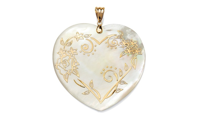14k gold heart shaped mother of pearl floral motif pendant groupon 14k gold heart shaped mother of pearl floral motif pendant aloadofball Choice Image