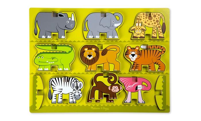 Melissa Doug Stacking Wooden Chunky Puzzle Zoo Animals