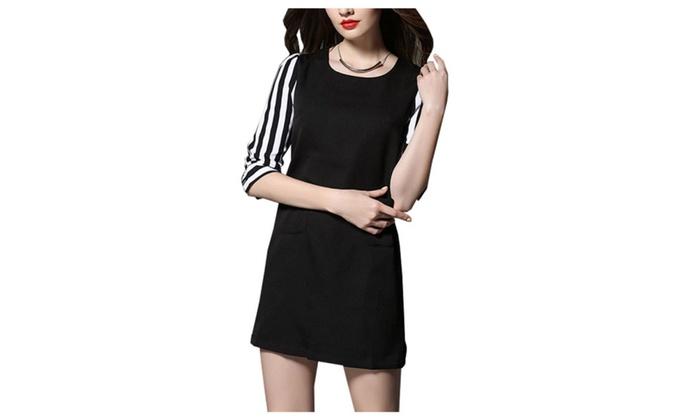 Stylebek: Stylebek Women's Polyester HiddenZipper Fashion Colorblock Dress