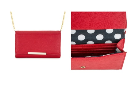 Red or Black Faux Leather Clutch With Gold Hardware c4df43a8-0c93-4eba-8703-2b332a25a1eb