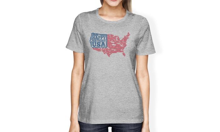 0eb740a60e4 365 Printing Happy Birthday USA American Flag Shirt Womens Grey Graphic T- Shirt