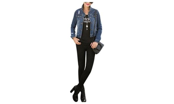 Lingswallow Women's Long Sleeve Ripped Crop Slim Casual Jean Jacket Coat