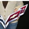 "C7 Corvette Crossed flag Wall Emblem Large Metal Art Full 24"" by 15"""