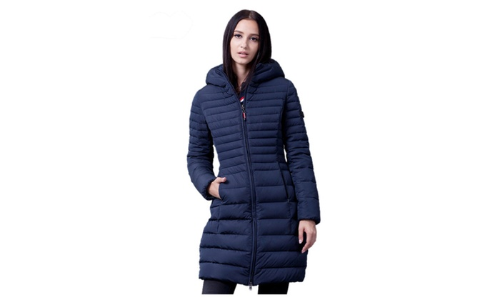 Women's Hoodie Warm Thick Front Zip Long Down Coat Parka
