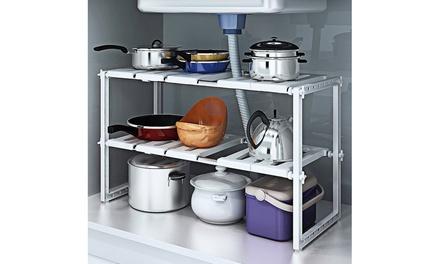 2 Tiers Expandable Kitchen Storage Under Sink Organizer
