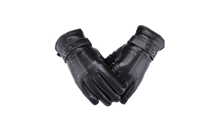 Men's Lambskin Leather Cold Weather Screen Touch Gloves – Black / One size