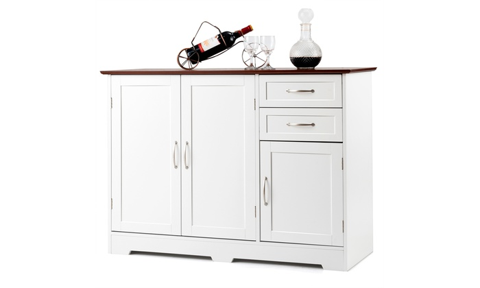 Buffet Storage Cabinet Console Table Kitchen Sideboardd Home Furni W 2 Drawers Groupon