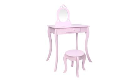 Children's Vanity Single Mirror Single Draw Curved Foot Dresser Purple
