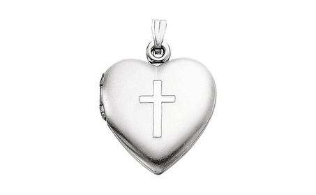 Sterling Silver 15.5x13mm Heart Locket with Cross c3359ee5-00cc-4401-a547-a84e7dc18c3c
