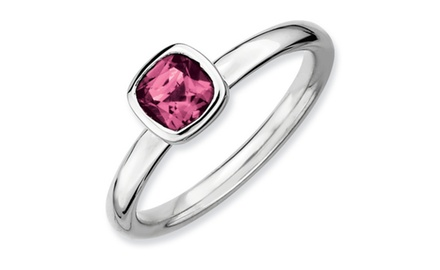 IceCarats Designer Jewelry SS Stackable Expressions Cushion Cut Pink Tourmaline Ring