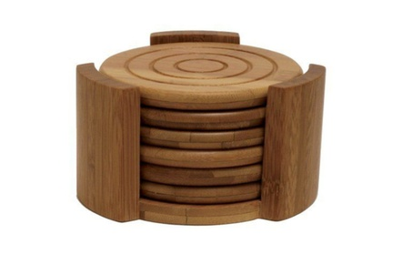 7 Piece Bamboo Coaster Set 6 Coasters With Holder Drink Cup Bar Table 8b37b9c1-e5fc-4e84-a916-0b5a38c2e4fc