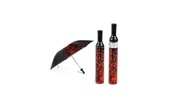 Beauty Wine Bottle Style Decorative Umbrella with Case No-drip Storage