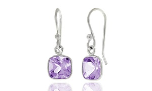 3.50 CTW Cushion Cut Amethyst Drop Earrings in Sterling Silver