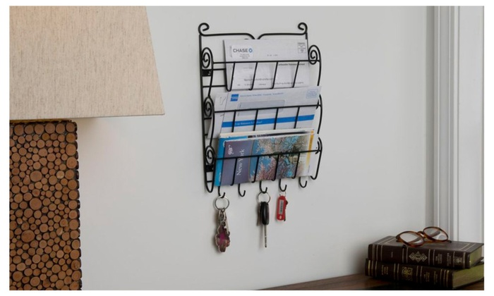 Evelots 3 tier wall mount letter rack with key holders home and office groupon - Wall mounted letter holder and key rack ...