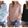 Women's Round Neck Ruffle Long Sleeve Blouse