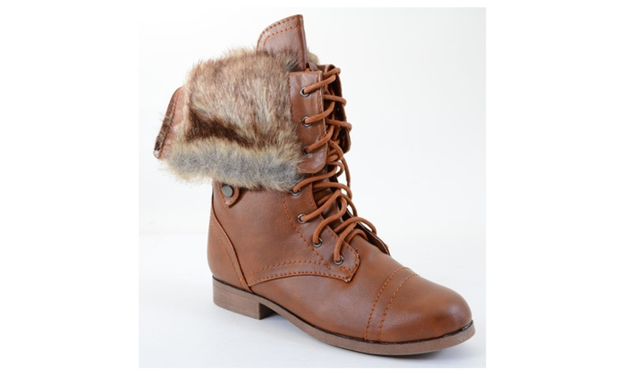 Fur Cuff Military Lace Up Vegan Boot