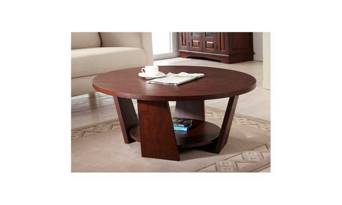 Odette Vintage Walnut Round Top Shelf Coffee Table Groupon