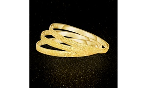 set of 3 Diamond Cut Filigree Bangles in 18K Gold