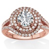 2.30 TCW Round Cubic Zirconia Double Halo Ring