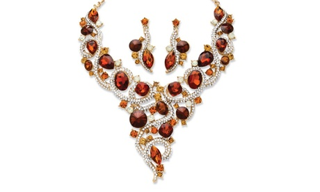 2 Piece Amber Crystal Necklace and Earrings Set in Yellow Gold Tone b66b3439-039c-4a4a-9533-9374eb049c04