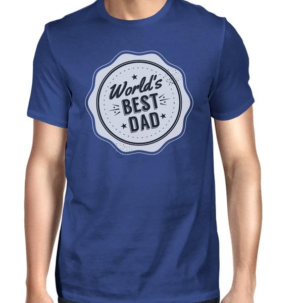 e567f42893eb8b 365 Printing Worlds Best Dad Mens Blue Cotton T-Shirt Vintage Design  Graphic Tee