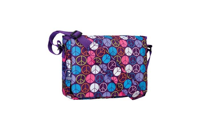 Wildkin Peace Signs Purple Kickstart Messenger Bag