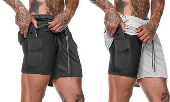 Men's Double-Layer Solid Color Shorts Large Size Fitness Training  Jogging Pants