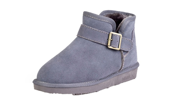Shefetch Women's Classic Leather Ankle Snow Boots