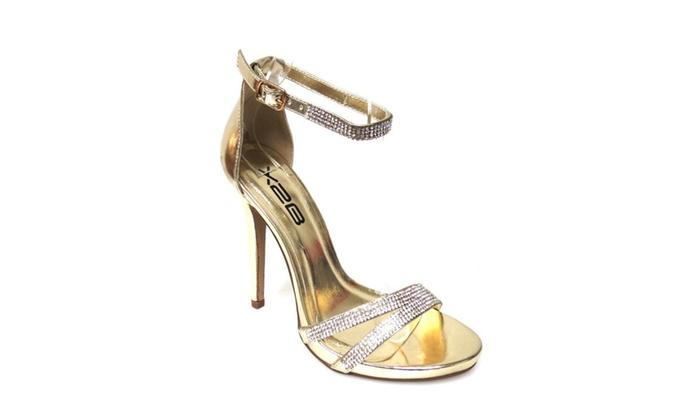 Jeweled Bling Strappy Anklet Platform Sandal Formal Heels