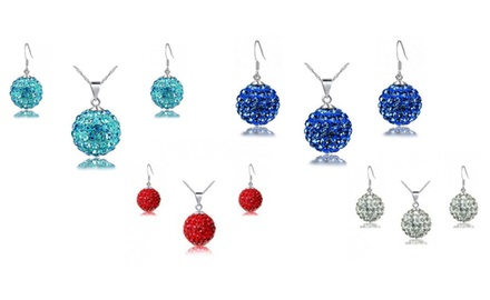 KATGI Adorable Candy Color Crystals Ball Necklace and Earrings 2PC Set