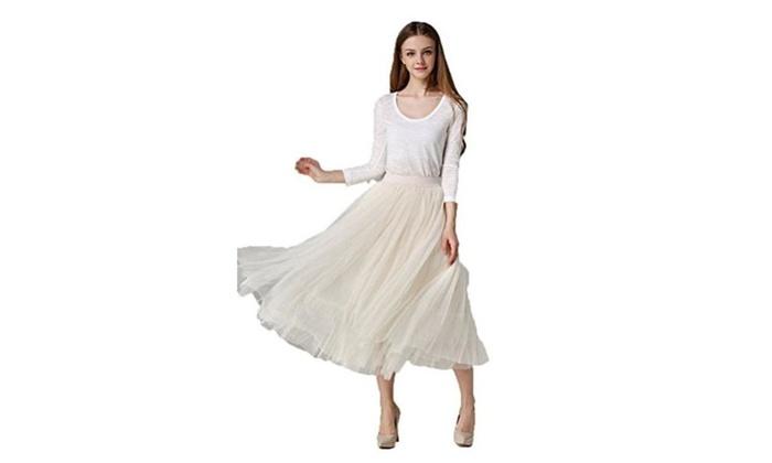 Afibi Women Retro Vintage Dress 3 Layer Pleated Skirts Long Underskirt