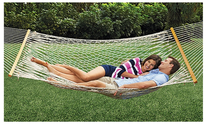 Medium image of apontus deluxe 2 person cotton rope hammock double bed